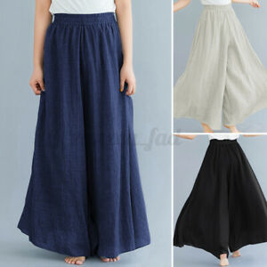 UK Womens Elastic Waist Flare Wide Leg Pants Casual Culottes Palazzo Trousers