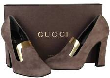 NEW GUCCI LADIES GRAY FIELD SUEDE METAL EMBOSSED LOAFERS HEELS SHOES 36/6