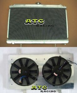 3-Row-For-Nissan-Silvia-S14-S15-SR20DET-240SX-200SX-Aluminum-Radiator-Shroud-Fan