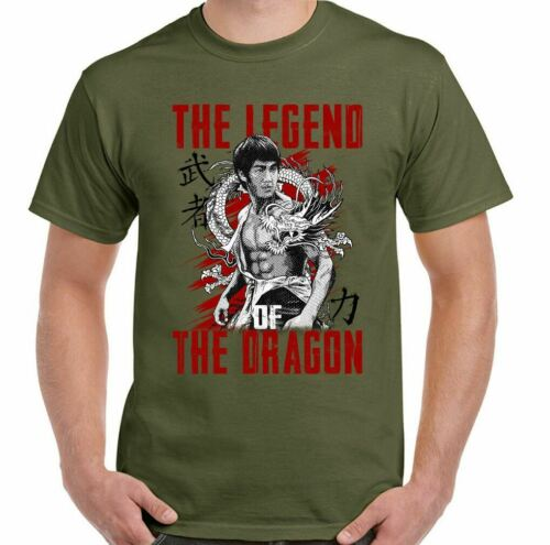 Legend of the Dragon Mens Bruce Lee Martial Arts T-Shirt MMA Training Top Gym