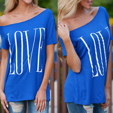 Summer Women New Sexy Fashion Loose Short Sleeve Blue Tops T-Shirt Love Blouse