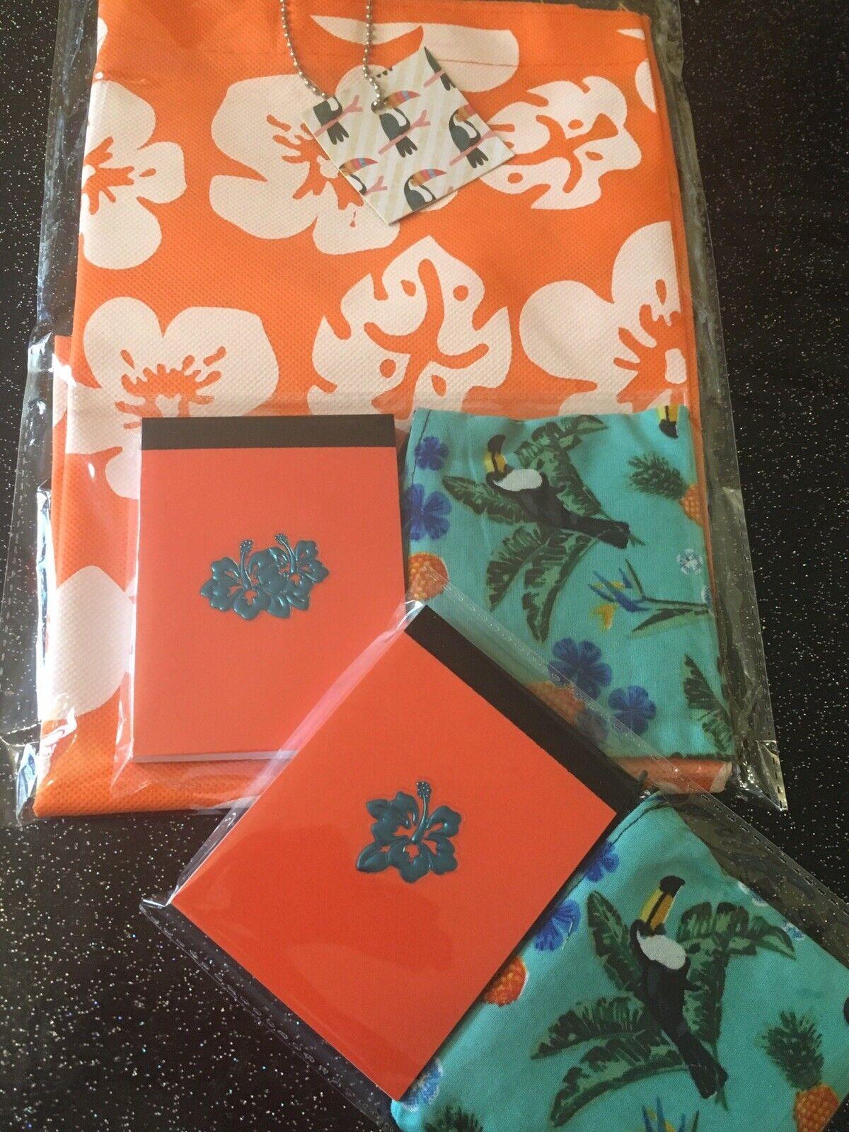 Tropical Orange Hibiscus 🌺Tote Bag +Notebook +Palm Tree Toucan Purse 3pc Set