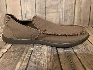 CROCS-SANTA-CRUZ-10128-Brown-Canvas-slip-on-shoes-Mens-size-11-H