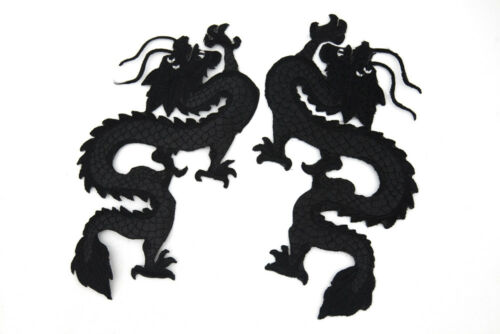 A PAIR CHINESE BLACK DRAGON WHOLESALE EMBROIDERY SEW COTTON PATCH APPLIQUE MOTIF