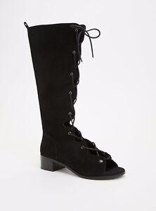 b49b5506d25b Torrid Genuine Suede Lace Up Gladiator Boots Wide Width Black 11.5 ...