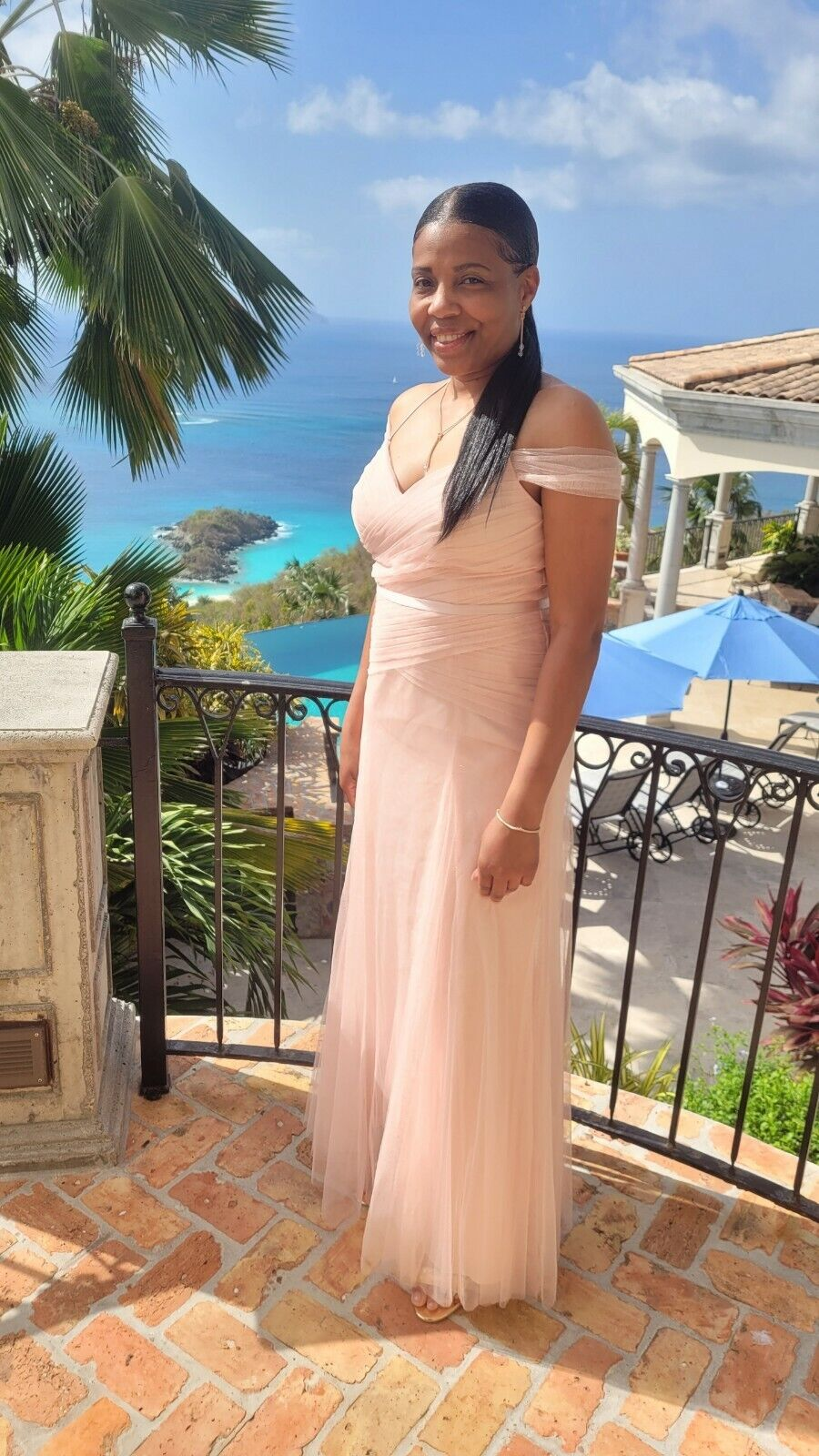 Vera Wang Pleated Bobbin Bridesmaid Net Dress with Tie