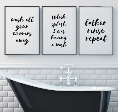 Set of 3 Wash Your Worries Splish Bath Bathroom Home Decor Poster Print Wall Art