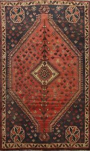 7'x9' Vintage Geometric Abadeh Tribal Area Rug Wool Hand-knotted Oriental Carpet