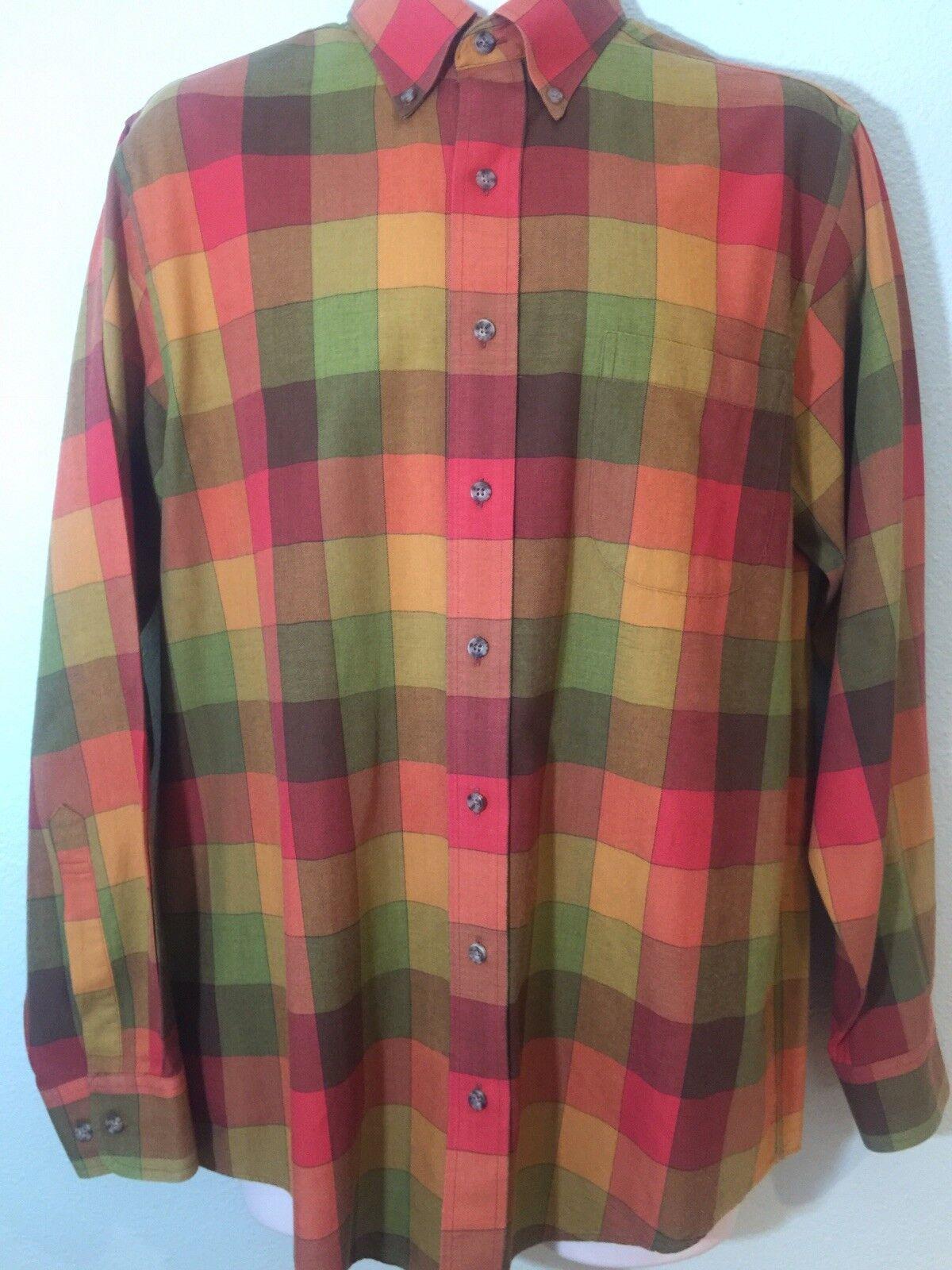 VIYELLA Men's Bright Plaid Wool Cotton Long Sleeve Shirt Size M Excellent