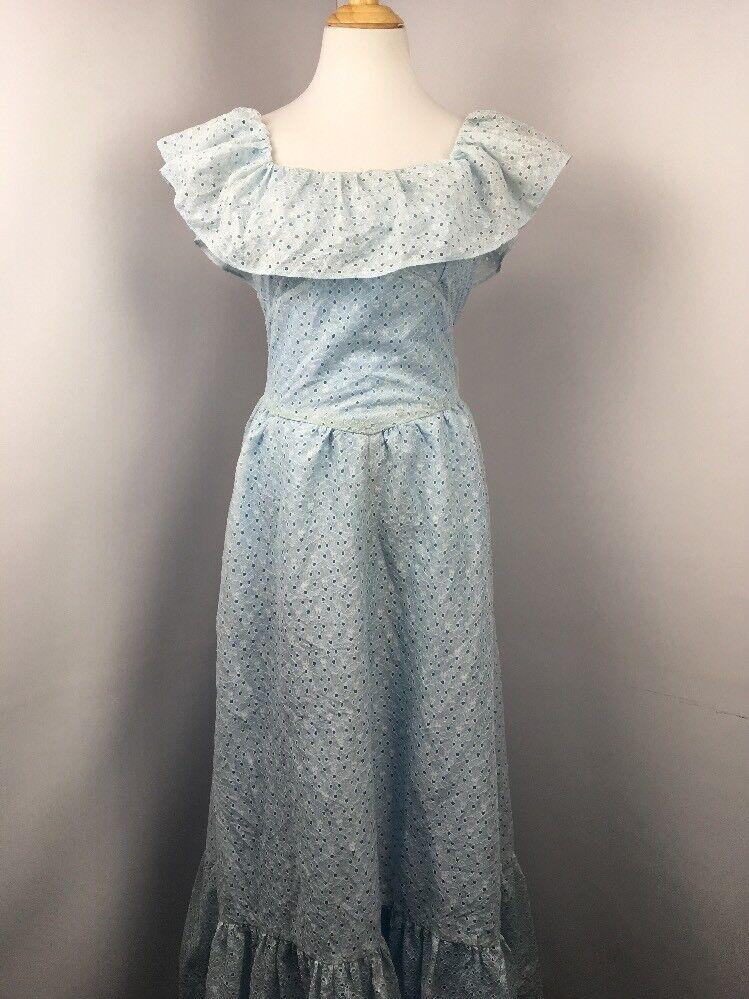 VtG 70's M L floral eyelet lace dress Prairie PEASANT off shoulder collar ruffle
