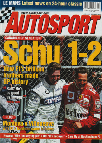 Autosport 14 June 2001 Le Mans 24 Hours, Audi R8, Canadian GP Shumacher 12