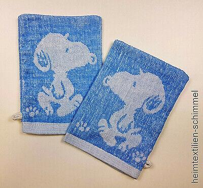 Dynamisch 2-tlg. Waschlappen Waschhandschuh Seiftuch Seiftücher Snoopy Blau 100% Baumw.