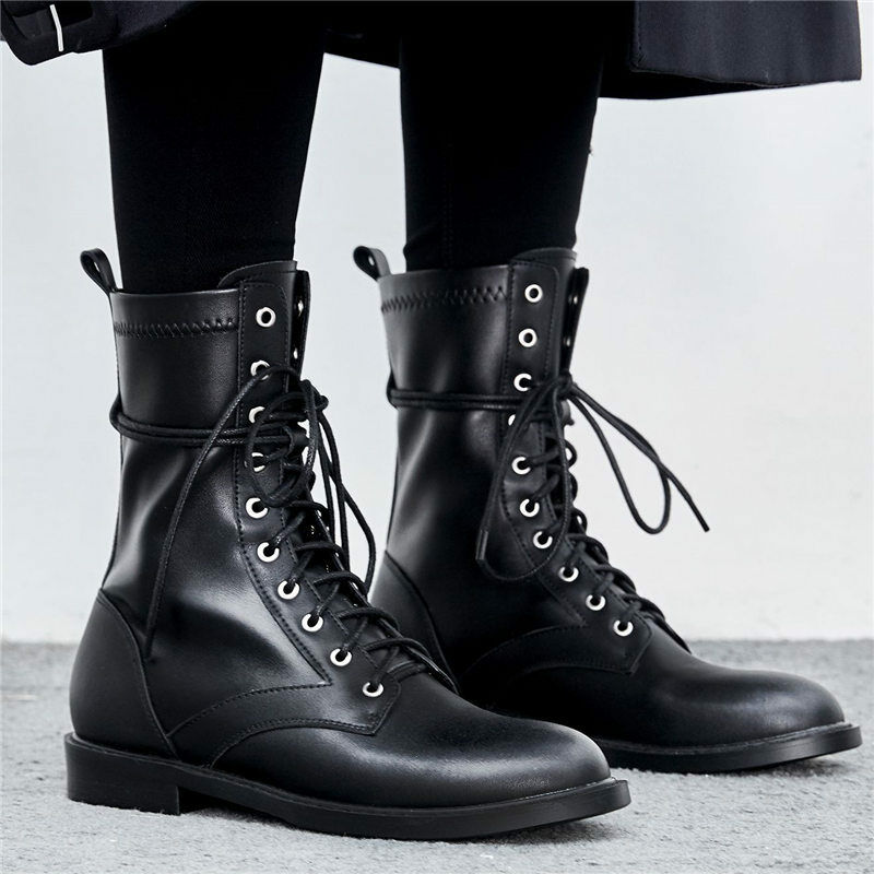 mujer Lace Real Up Hi Top Real Lace Leather Ankle botas Military Flats Combat Motorcycle 042fc7