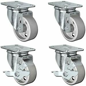 "4 All Steel Swivel Plate Caster Wheels Lock Heavy Duty Steel 4/"" W// Brake"