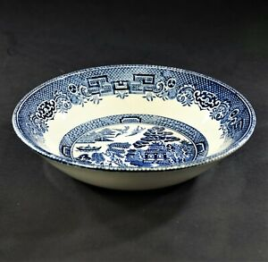 PRIVATE-LISTING-Johnson-Brothers-Willow-Blue-Fruit-Dessert-Bowls-Set-of-4
