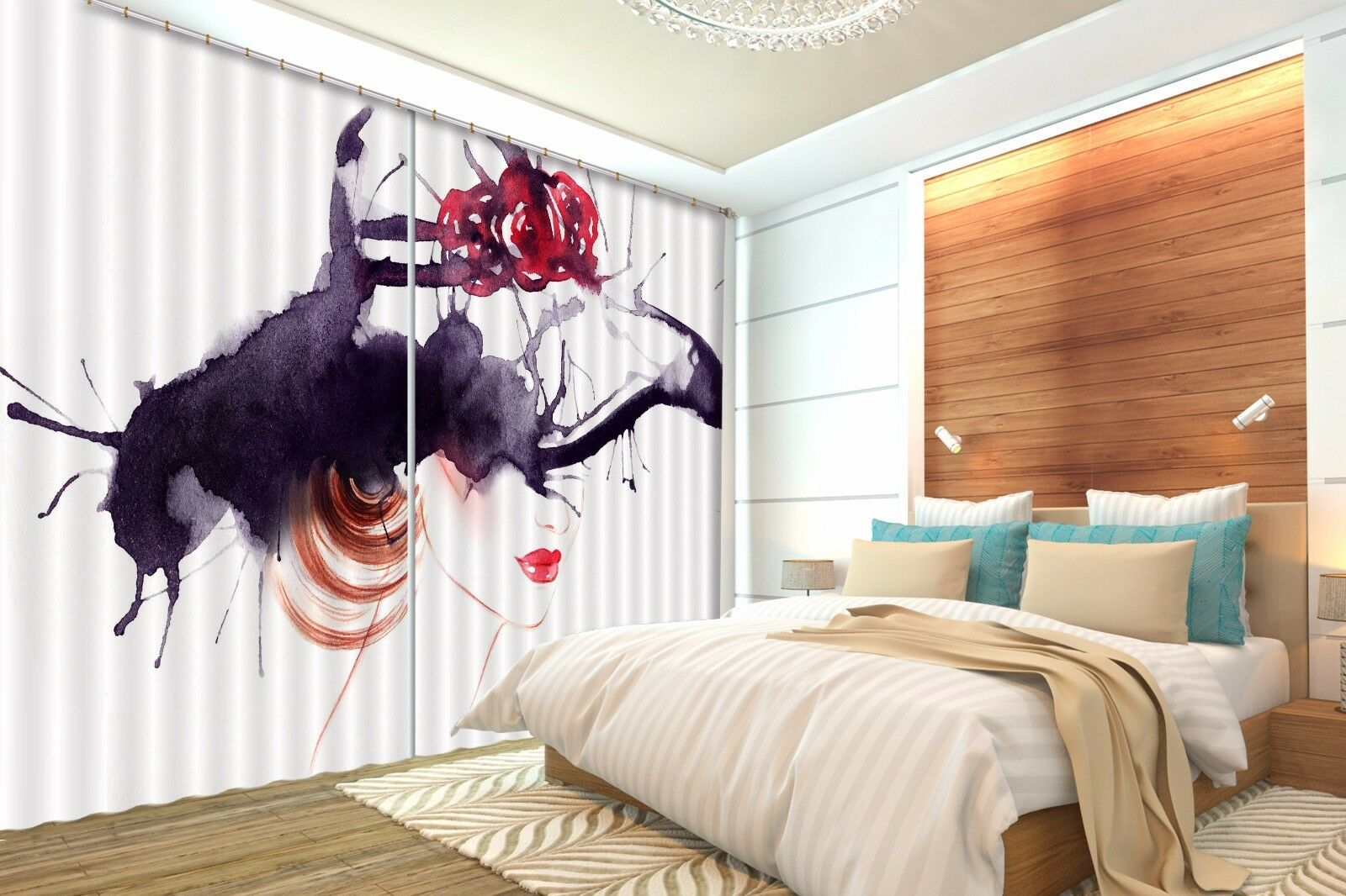 3D Ink girl 464 Blockout Photo Curtain Printing Curtains Drapes Fabric Window AU