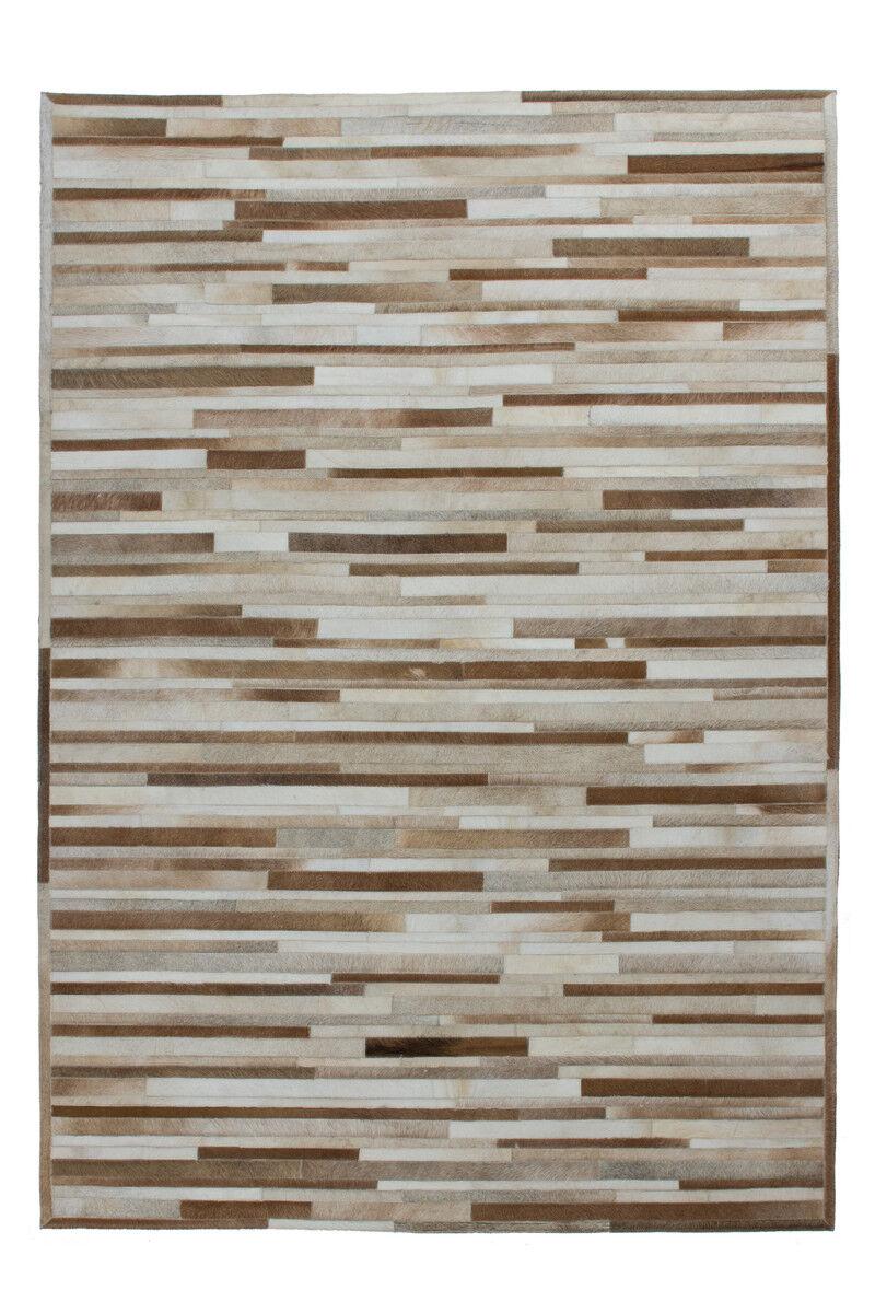 Teppich 100% Leder Flachgewebe Handgefertigtes Handgefertigtes Handgefertigtes  Creme Streifen Design 160X230cm f3809a