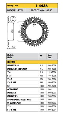 1-4436 - Corona Passo 525 Ducati Monster S 1000 2003 2004 2005