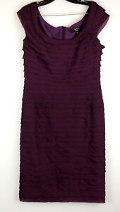 Tadashi-Collection-Womens-12-SILK-Dress-Ruffle-Tiered-Sheath-Sleeveless-Cocktail