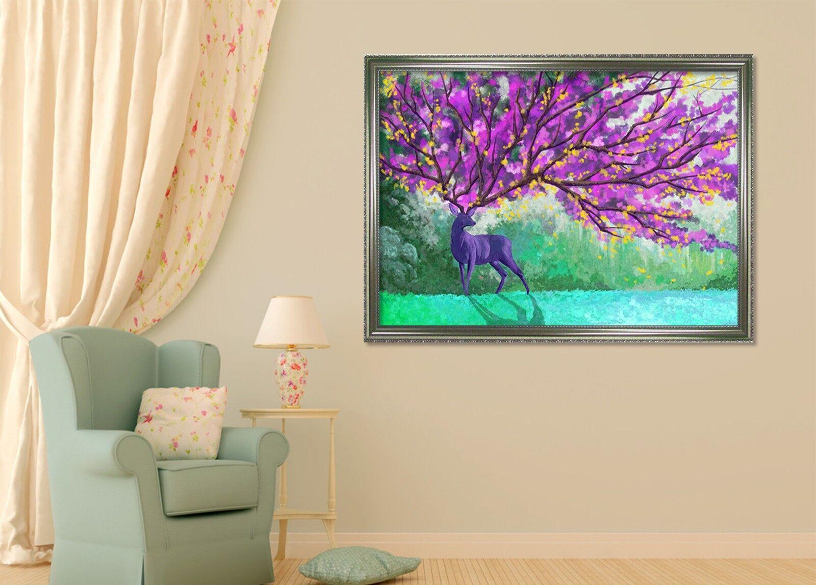 Flor de cuernos de 3D 51 Póster Enmarcado Decoración del Hogar Pintura de Impresión Arte AJ Wallpaper