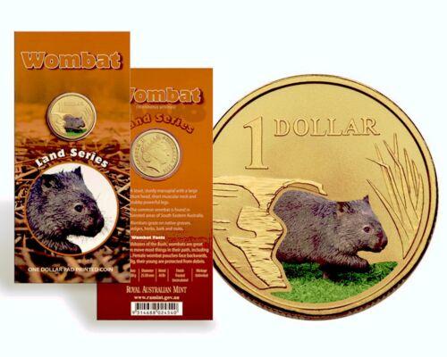 "$1 Land Series 2009 /"" Wombat /"" Australian Money One Dollar Coin UNC in card"