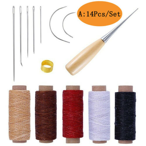 Leather Working Tools Kit Set DIY Sewing Craft Supplies Stitching Making Groover