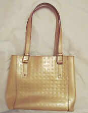 ARCADIA tan nude pearlescent patent leather signature large tote shoulder bag