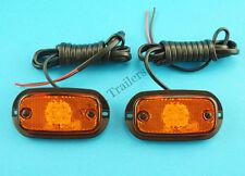 2 x Perei LED Amber Side Marker Lamp Light Dual Voltage 12v 24v  #F707 #TR
