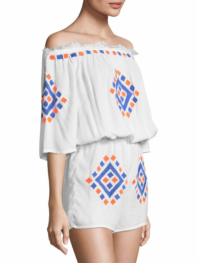 PIA PAURO White Embroidered Off Shoulder Romper  225 SAKS FIFTH AVE Size L