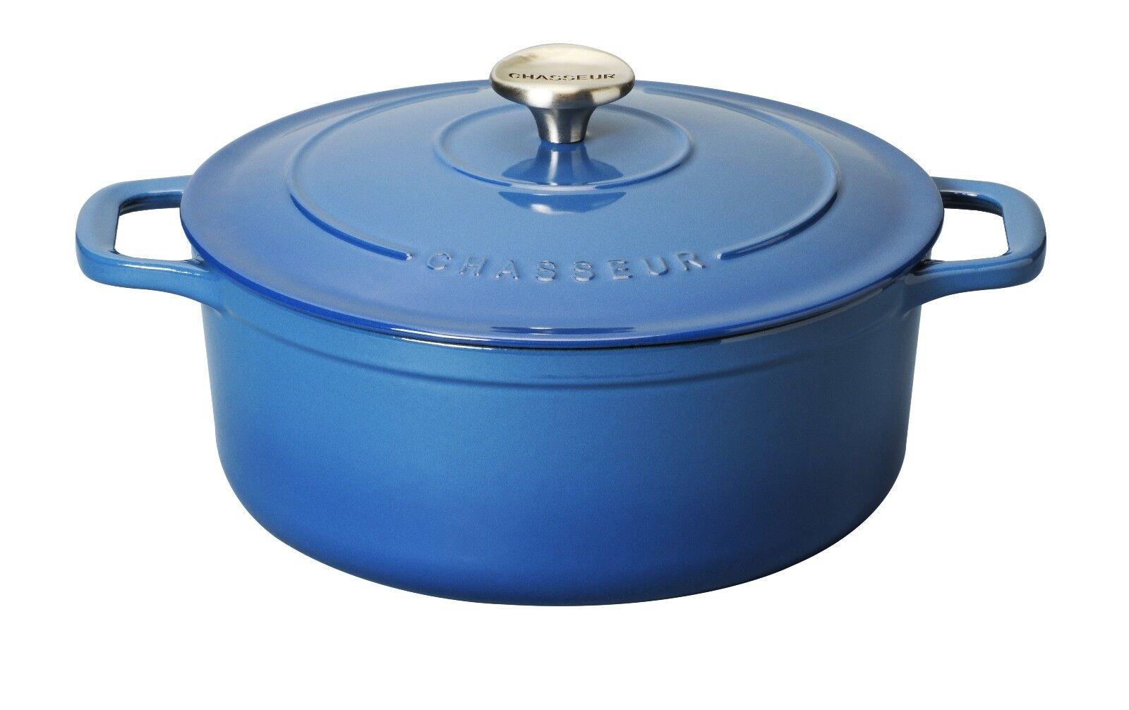 Cocotte chasseur Ronde Cuisson Plat à Four et plaque de cuisson Pan 24 CM 3.8 L Provence bleu
