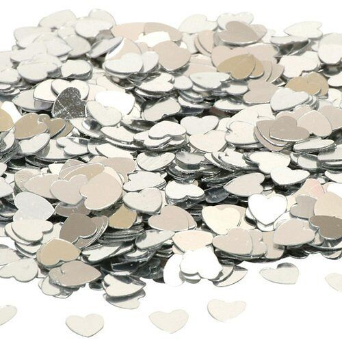 Small Silver Hearts Wedding Table Scatter Decorations 14g Pack