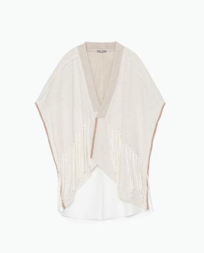 Fringes Leinen Strickjacke Jacket Kimono Linen Tunic Fransen Zara Size With M F1JK3uTcl5