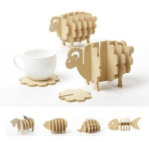 Untersetzer-MDF-Schaf-Igel-Fisch-Schwein-Glasuntersetzer-Holz-Design-DIY-Deko