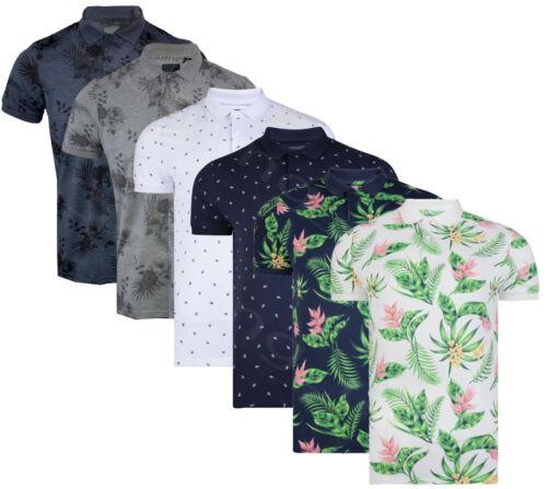 Mens Hawaiian Fashion Floral Polo Shirt Short Sleeve Casual Cotton Summer S-XXL