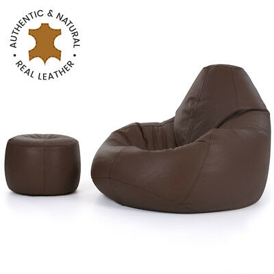 Luxury Real Leather Bean Bag and Footstool  XX Large Recliner Chair Walnut Brown