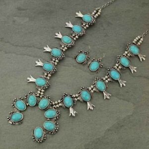 SQUASH-BLOSSOM-necklace-set-in-silver-tone-and-turquoise-26-inch-adj