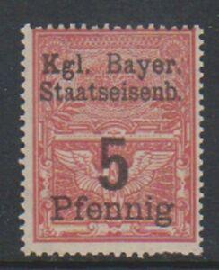 Baviera - 5pf Rojo (Railroad Impuestos Fiscales) Sello - MNH