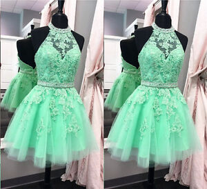 4688ffb1ce Short Mint Green Prom Dress with Lace Sequins Party Cocktail ...