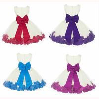FLOWER GIRL DRESS ROSE PETAL JUNIOR TODDLER PAGEANT 2 2T 3 3T 4 4T 5 6 7 8 10 12