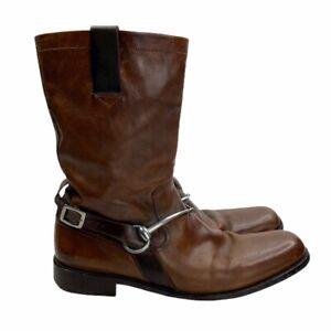 John-Varvatos-Gaucho-Brown-Leather-Metal-Clasp-Strap-Boots-Sz-13-Handmade-Italy