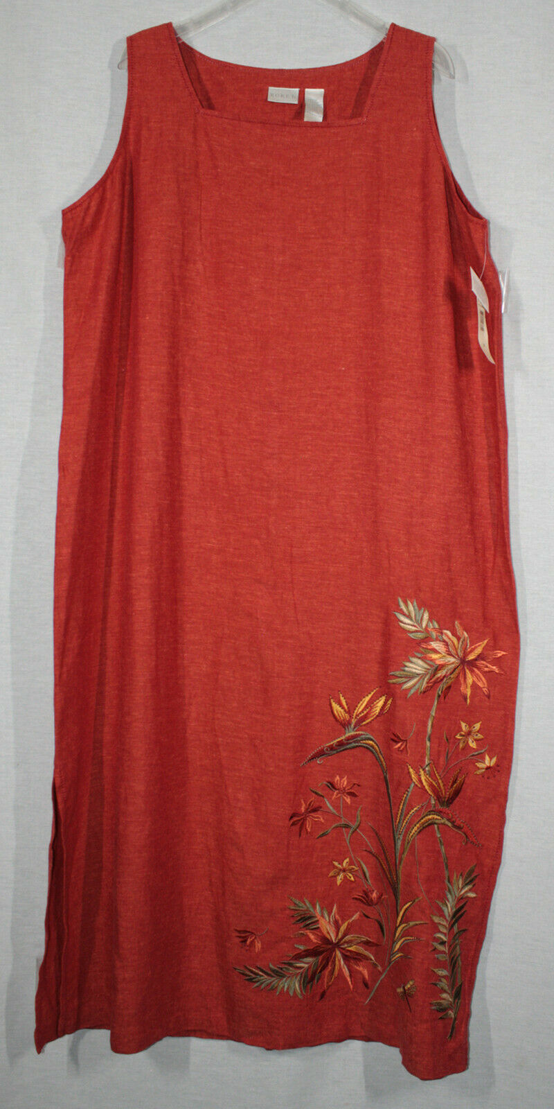 KORET SUMATRA WOMANS LONG EMBROIDERED ORANGE LINEN DRESS SIZE 20W NEW WITH TAGS