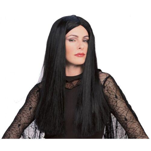 Morticia Wig Addams Family Womens Black Long Hair Costume
