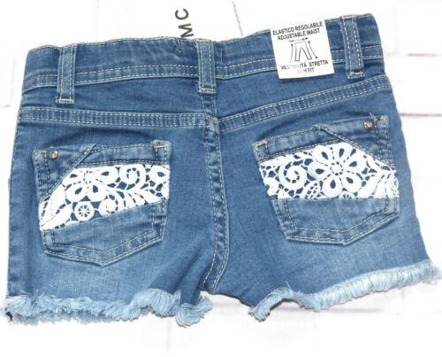 EMC Jeans Shorts Mädchen Sommer Slim Spitze Denim Gr 98 110 116 122 128 NeU