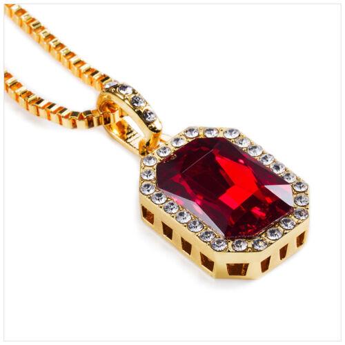 Rick Ross Style Cz Diamand Faux Lab Pendant Necklace Box Chain Hip Hop Jewelry