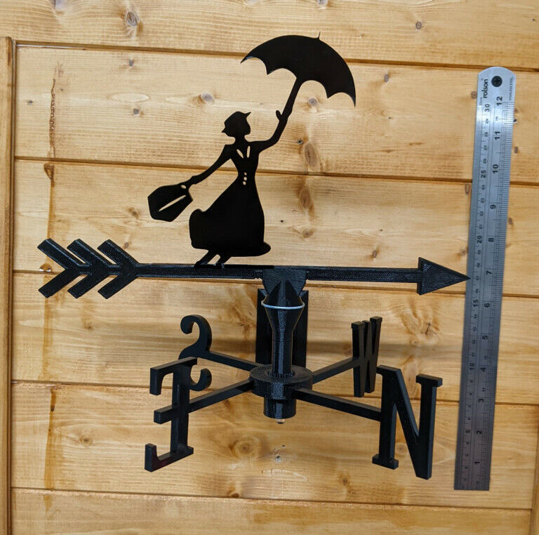 Mary Poppins Acrylic Garden Weather Vane Wall, Pole or Post Mount