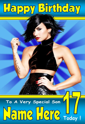 DEMI LOVATO NEW Personalised Birthday Card 1 ANY NAME AGE RELATION A5 SIZE!