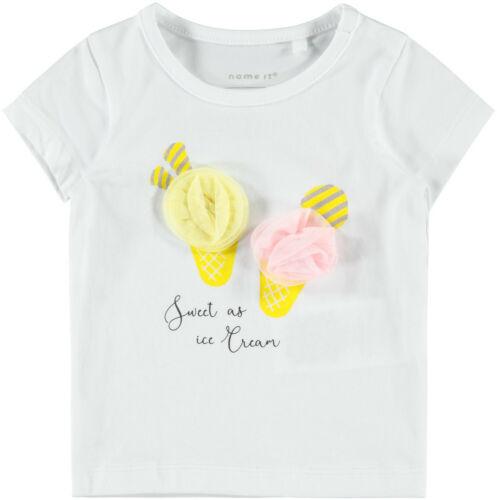 Name it Baby Mädchen T-Shirt kurzarm Gr 56-86 NBFJOSA Eis mit Tüll Motiv