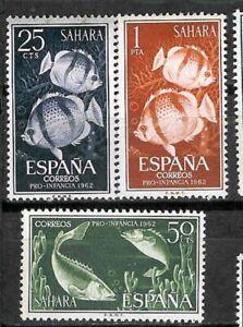 Sahara-Spagnolo-Edifil-209-211-MNH-pro-Asilo-1962-Pesci