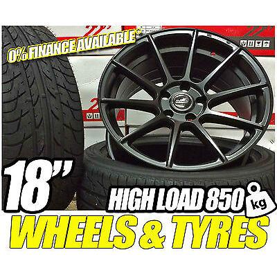 """Load Rated 850kg mat Black Alloy Wheels Tyres 18"""" T5 Van Volkswagen Sportline T6"""