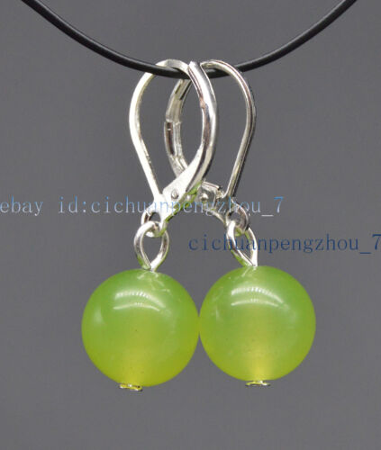 Pretty 6//8//10//12mm Multi-couleur jade ronde Gems Beads Dangle Leverback Boucles D/'oreilles